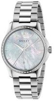 Gucci G-Timeless Diamond, Mother-Of-Pearl & Stainless Steel Bracelet Watch