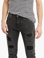 Helmut Lang Washed Black Destroyed Jeans