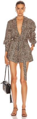 Marissa Webb Masie Lightweight Canvas Print Jumper in Sandshell Leopard | FWRD