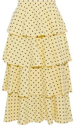 Baum und Pferdgarten Scarlet Tiered Polka-dot Cotton-blend Skirt