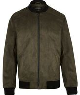 River Island MensGreen faux suede bomber jacket