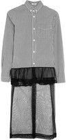 Miu Miu Checked Cotton-poplin, Ruffled Lace And Tulle-paneled Dress - Black