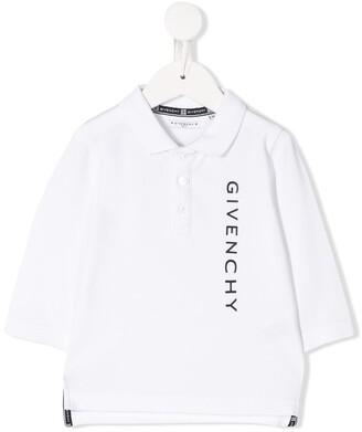 Givenchy Kids Logo Print Pique Polo Shirt
