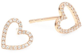 Ef Collection 14K Rose Gold & Diamond Heart Stud Earrings