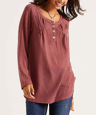 Suzanne Betro Weekend Women's Tunics 102ROSE - Rose Waffle-Knit Button-Front Relaxed-Fit Tunic - Women
