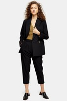 Topshop Womens Petite Black Double Breasted Blazer - Black
