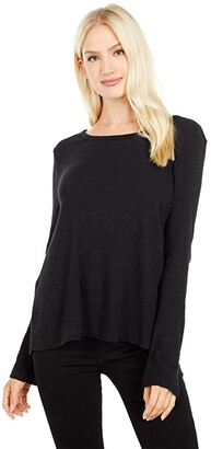 Dylan by True Grit Soft Slub Waffle Hi-Lo Loose Crew Neck Tee (Black) Women's Clothing