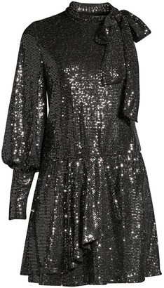 Black Halo Darby Sequin Disco Mini Dress