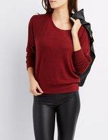 Charlotte Russe Marled Raglan Oversized Sweatshirt