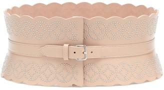 Alaã ̄A Studded leather corset belt