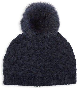 Raffaello Bettini Cashmere & Fox Fur Pom-Pom Beanie