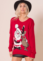 Missy Empire Red Santa And Rudolph Knitted Christmas Jumper