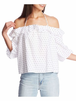 1 STATE Womens White Low Back Printed Short Sleeve Off Shoulder Evening Top Juniors Size: XXS