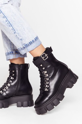 Nasty Gal Womens Walk It Like I Talk It Faux Leather Cleated Boots - Black