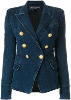Balmain button-embellished denim blazer
