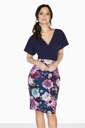 Paper Dolls Outlet Auburn Mock Wrap Dress With Floral Skirt