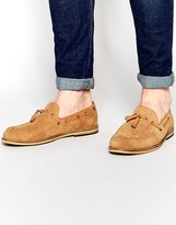 Frank Wright Suede Tassel Loafers In Tan
