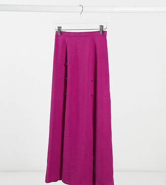 ASOS DESIGN Petite double split maxi skirt in violet