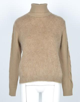 Max Mara Light Brown Mohair and Wool Brown Women's Turtleneck Sweater