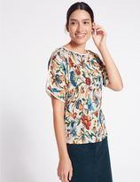 Marks and Spencer Floral Print Plisse Split Sleeve T-Shirt