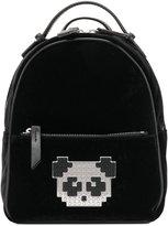 Les Petits Joueurs pixel panda patched backpack - women - Leather/Velvet - One Size