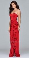 Faviana Strapless Side Ruffle Evening Dress