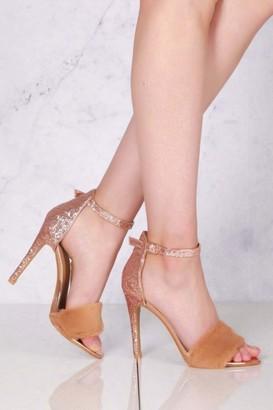 Miss Diva Sabrina Anklestrap Fur Detail Sandal in Rose Gold Glitter