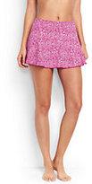 Lands' End Women's Petite Flounce Mini SwimMini Skirt Control-Light Fuchsia Bandana Paisley
