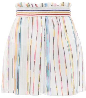 Missoni Mare Paperbag-waist Striped Mesh Shorts - White Multi