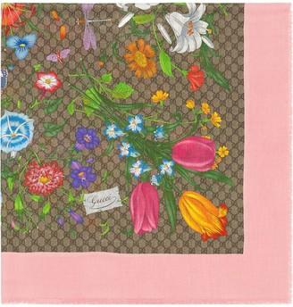 Gucci GG floral-print scarf