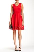 Donna Ricco Crochet Hem Fit & Flare Dress