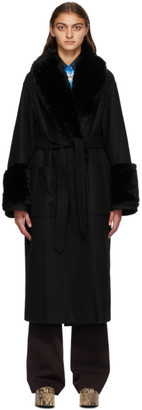 Dries Van Noten Black Faux-Fur Collar Coat