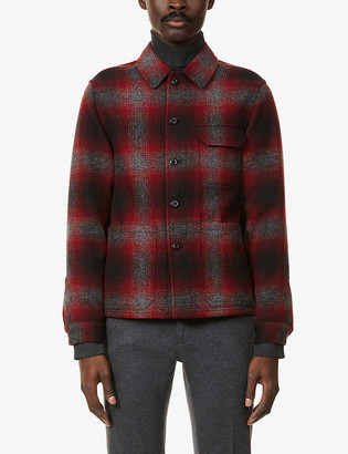 SLOWEAR Checked long-sleeved wool overshirt