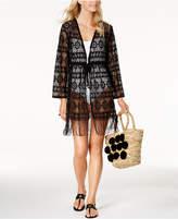 Dotti Frilly Fringe Crochet Kimono Cover-Up