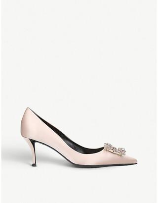 Roger Vivier Flower embellished satin court shoes