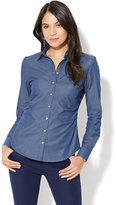 New York & Co. 7th Avenue - Madison Stretch Shirt - Chambray - Medium Blue