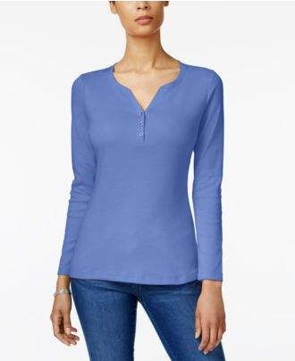 Karen Scott Cotton Long-Sleeve Henley, Created for Macy's
