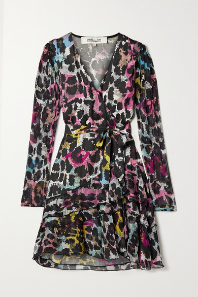 Diane von Furstenberg Keyla Printed Satin-jacquard And Crepon Wrap Mini Dress - Black