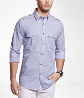 Express Striped Extra Slim Fit Military Shirt