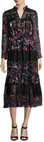Saloni Alyssa Floral-Print Midi Dress, Black Multicolor