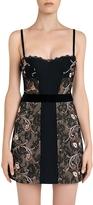 La Perla Hampton Court Black Silk Georgette and Embroidered Leavers Lace Corset Dress