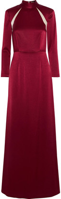 Alice + Olivia Charita Chiffon-trimmed Satin Gown