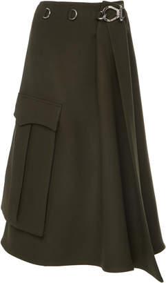 Prada High-Waisted Wool Midi Wrap Skirt