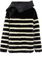 Mes Demoiselles Arctique Reversible Striped Shearling Coat - Midnight blue