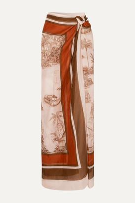 Johanna Ortiz Costa Del Sol Printed Cashmere And Silk-blend Pareo - Brick