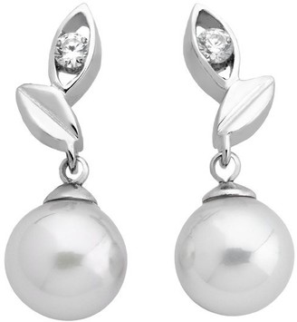 Majorica Short post earrings on sterling silver rhodium-plated 8mm round white pearls and zircons