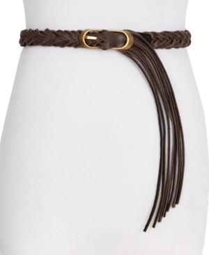 Frye & Co Braided Panel with Fringe Leather Belt