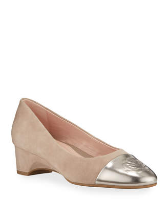 Taryn Rose Babe Metallic-Capped Suede Ballet Pumps