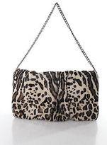 Abaco Beige Brown Black Calf Hair Leather Chain Strap Shoulder Clutch Handbag