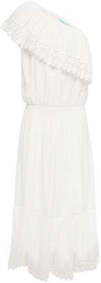 Melissa Odabash Jo One-shoulder Crochet-trimmed Broadcloth Midi Dress